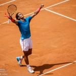Rafael Nadal celebrates winning a match.
