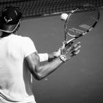 Rafael Nadal practices his volley.