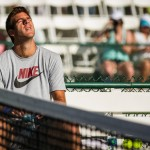 Juan Martin Del Potro takes a break during practice.