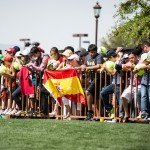 Fans wait for Rafael Nadal to sign autographs.