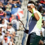 Rafael Nadal celebrates winning a point.