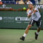 Lleyton Hewitt hits a backhand.