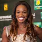 Sloane Stephens arrives at the players' party.