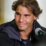 Rafael Nadal attends a press conference.