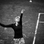 Kristina Mladenovic serves